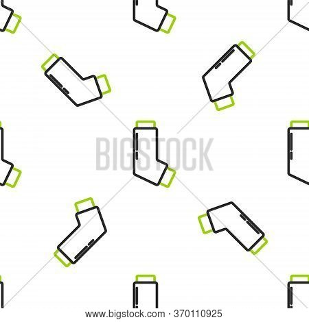 Line Inhaler Icon Isolated Seamless Pattern On White Background. Breather For Cough Relief, Inhalati