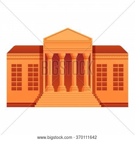 Public Museum House Icon. Cartoon Of Public Museum House Vector Icon For Web Design Isolated On Whit
