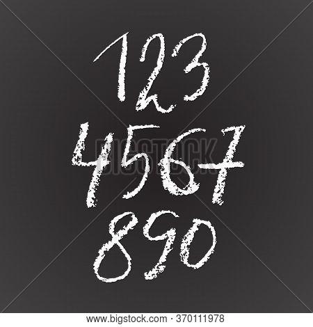 Set Of Grunge Chalk Textured Numbers. Modern Chalk Lettering. Vector Illustration.