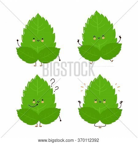 Cute Happy Mint Leaf Character Set Collection. Isolated On White Background. Vector Cartoon Characte