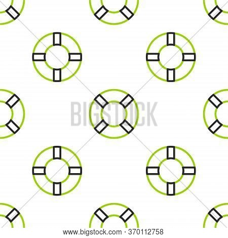Line Lifebuoy Icon Isolated Seamless Pattern On White Background. Life Saving Floating Lifebuoy For