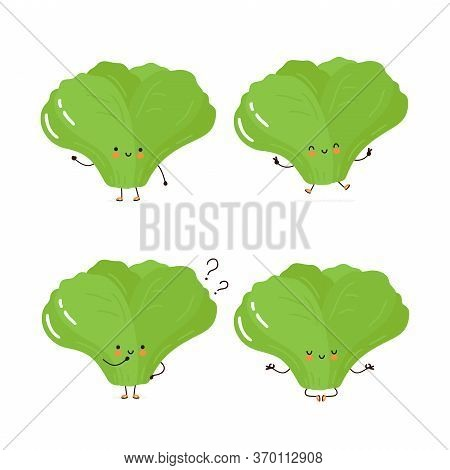 Cute Happy Green Leaf Salad Character Set Collection. Isolated On White Background. Vector Cartoon C