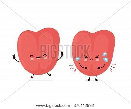 Cute Smiling Happy And Sad Sick Human Tongue. Vector Flat Cartoon Character Illustration.isolated On