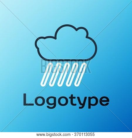 Line Cloud With Rain Icon Isolated On Blue Background. Rain Cloud Precipitation With Rain Drops. Col
