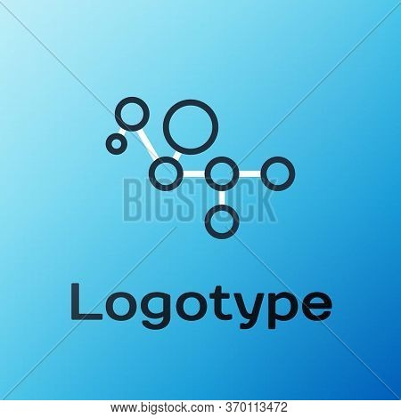 Line Cannabis Molecule Icon Isolated On Blue Background. Cannabidiol Molecular Structures, Thc And C