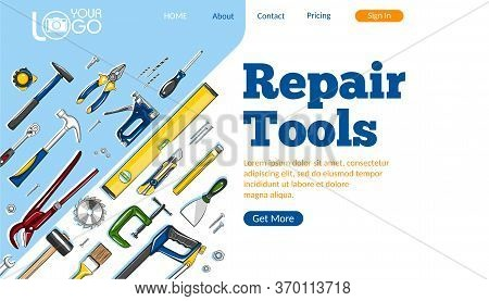 Repair Tools Landing Page. Construction Hand Tools Sketches For Carpentry, Handyman Service Advertis