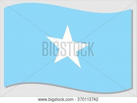 Waving Flag Of Somalia Vector Graphic. Waving Somali Flag Illustration. Somalia Country Flag Wavin I
