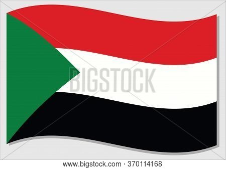 Waving Flag Of Sudan Vector Graphic. Waving Sudanese Flag Illustration. Sudan Country Flag Wavin In
