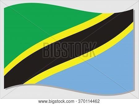 Waving Flag Of Tanzania Vector Graphic. Waving Tanzanian Flag Illustration. Tanzania Country Flag Wa