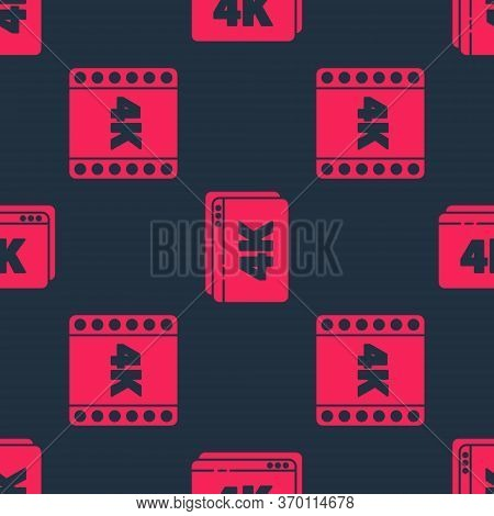 Set 4k Movie, Tape, Frame And Online Play Video With 4k On Seamless Pattern. Vector