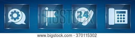Set Speech Bubble Chat, Location Marker, Telephone 24 Hours Support And Telephone. Square Glass Pane