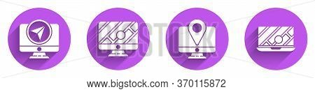 Set Monitor With Location Marker, Monitor With Location Marker, Monitor With Location Marker And Cit