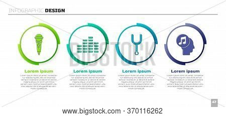 Set Microphone, Music Equalizer, Musical Tuning Fork And Musical Note In Human Head. Business Infogr