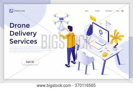 Landing Page With Man Receiving Package Delivered By Quadcopter. Concept Of Drone Delivery Service,