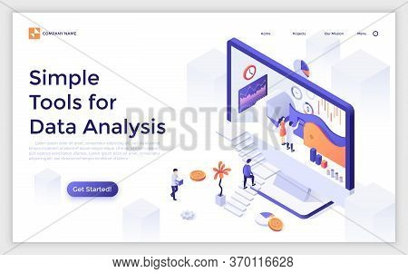 Landing Page With Giant Computer Display And People Ascending Stairs And Analyzing Statistical Infor