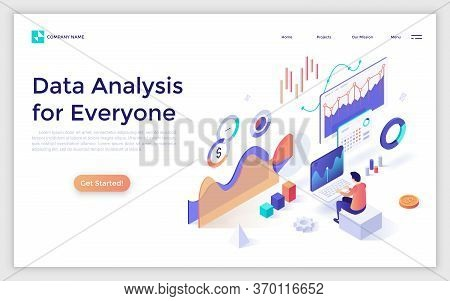 Landing Page With Man Or Analyst Working On Laptop And Analyzing Statistical Or Financial Informatio