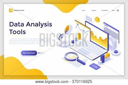Landing Page With Laptop Computer, Charts Diagrams, Graphs And Place For Text. Tools For Data Analys