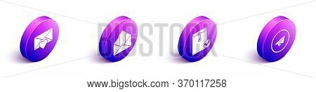 Set Isometric Envelope With Valentine Heart, Outgoing Mail, Envelope And Check Mark And Paper Plane