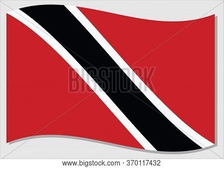 Waving Flag Of Trinidad And Tobago Vector Graphic. Waving Trinidadian And Tobagonian Flag Illustrati
