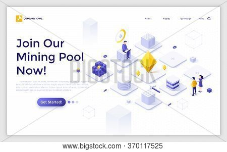 Landing Page Template With Man Working On Laptop Computer And Network Of Cubic Blocks. Cryptocurrenc