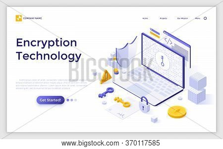 Landing Page With Laptop Computer, Cryptographic Protocol, Shield, Lock And Key. Encryption Technolo