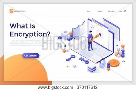 Landing Page Template With Laptop Computer And Man Opening Lock With Key. Internet Encryption, Acces
