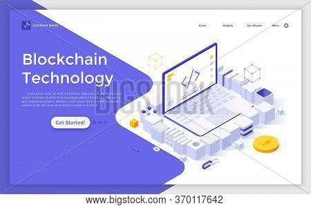 Landing Page Template With Laptop Computer Surrounded By Cubic Blocks. Blockchain Technology, Softwa