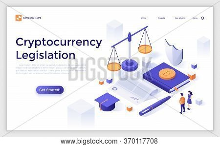 Landing Page Template With Giant Paper Agreement, Bitcoins, Scales Of Justice And Tiny People. Crypt