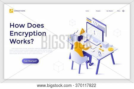 Landing Page Template With Man Sitting At Computer And Trying To Get Access To Encrypted Data. Inter