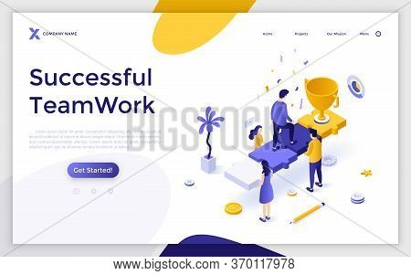 Landing Page Template With Group Of People Holding Man Ascending Stairs Made Of Jigsaw Puzzle Pieces