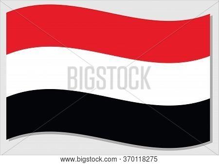 Waving Flag Of Yemen Vector Graphic. Waving Yemeni Flag Illustration. Yemen Country Flag Wavin In Th
