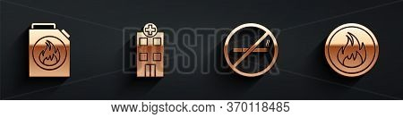 Set Canister For Flammable Liquids, Medical Hospital Building, No Smoking And Fire Flame Icon With L