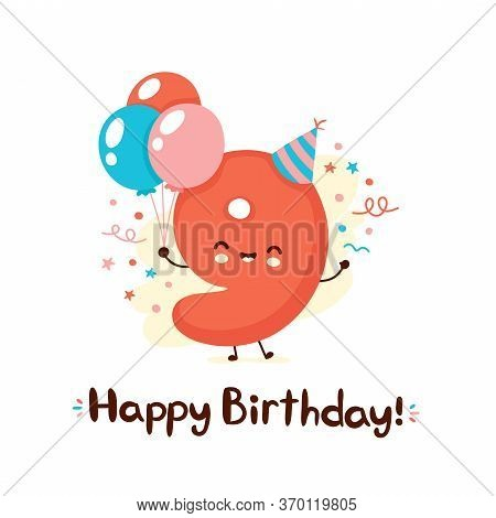Cute Smiling Number Nine With Balloons In Festive Hat. Happy Birthday 9 Year.vector Flat Cartoon Cha