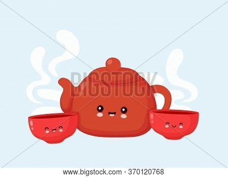 Cute Happy Smiling Teapot And Tea Bowls. Vector Flat Cartoon Character Illustration Icon Design.isol