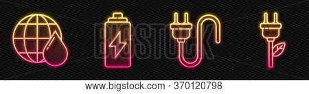 Set Line Electric Plug, Earth Planet In Water Drop, Battery And Electric Saving Plug In Leaf. Glowin