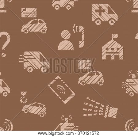 Emergency Service, Seamless Pattern, Color, Hatching, Brown, Vector. Emergency Medical And Fire Assi