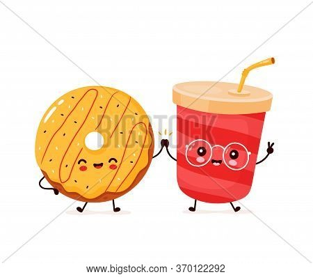 Cute Happy Smiling Donut And Soda Water. Vector Flat Cartoon Character Illustration Icon Design.isol