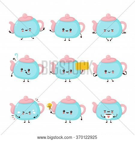 Cute Happy Smiling Teapot Set Collection. Vector Flat Cartoon Character Illustration Icon Design.iso