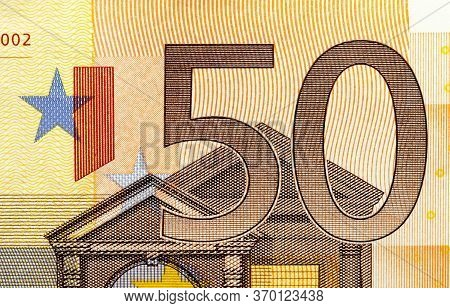 The Front Side Of The Obverse Of European Euro Cash, The Denomination Of The Bill Is Fifty Euros