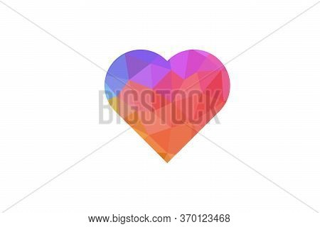 Low Poly Red Heart On A White Isolated Background.vector Illustration.