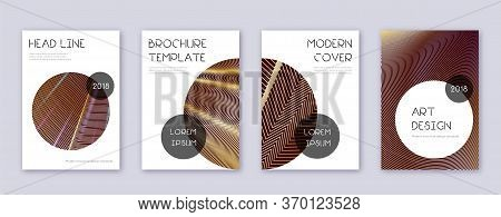 Trendy Brochure Design Template Set. Gold Abstract Lines On Bordo Background. Bewitching Brochure De
