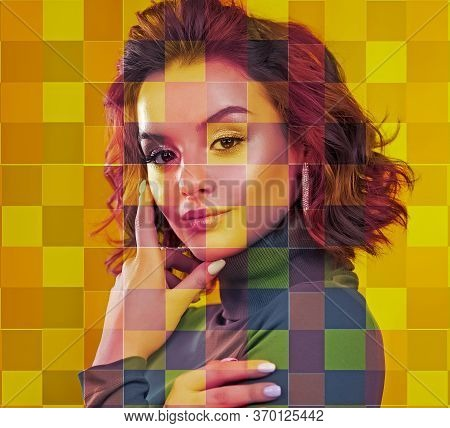Portrait Of A Woman. Colored Mosaic. Design And Concept. Multi-colored, Bright Color. Yellow And Blu