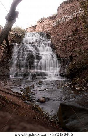 Waterfall In Samara. Mountain River Waterfall Landscape. Waterfall River Scene. Selective Focus.