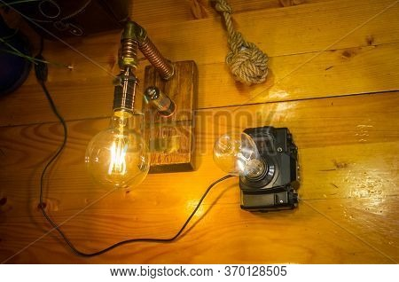 Light Fixtures Handmade In Vintage Style, Retro Film Slr Camera Case And Wooden Case