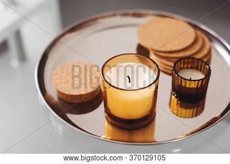 Aroma Candles On A Round Metal Tray. Simple Home Decor. Aromatherapy Concept