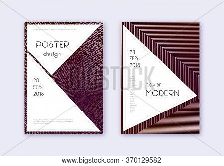 Stylish Cover Design Template Set. Gold Abstract Lines On Maroon Background. Fair Cover Design. Valu