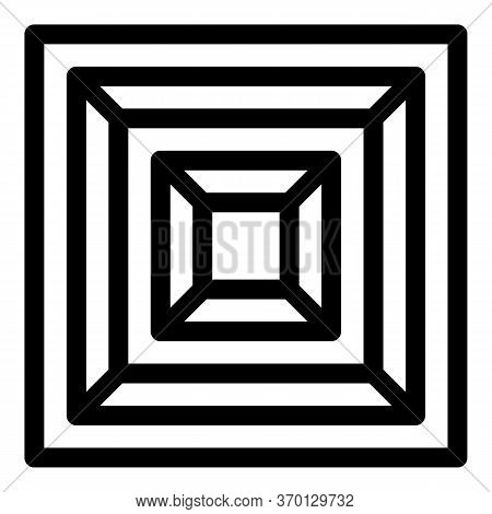 Inscribed Squares Vent Cover Icon. Outline Inscribed Squares Vent Cover Vector Icon For Web Design I
