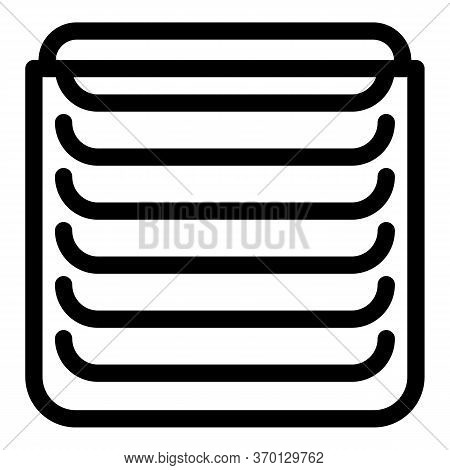 Metal Vertical Cover Icon. Outline Metal Vertical Cover Vector Icon For Web Design Isolated On White