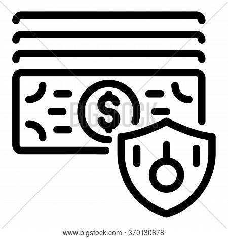 Protected Money Icon. Outline Protected Money Vector Icon For Web Design Isolated On White Backgroun