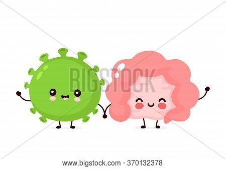 Cute Happy Good Probiotic Bacteria And Intestine Organ. Vector Flat Cartoon Character Illustration I